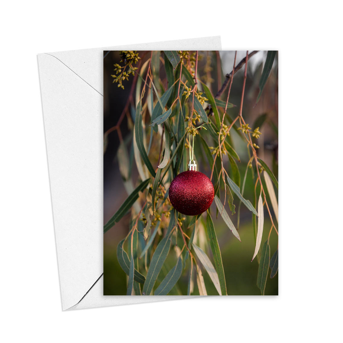 Christmas Red Bauble Greeting Card   Trada Marketplace