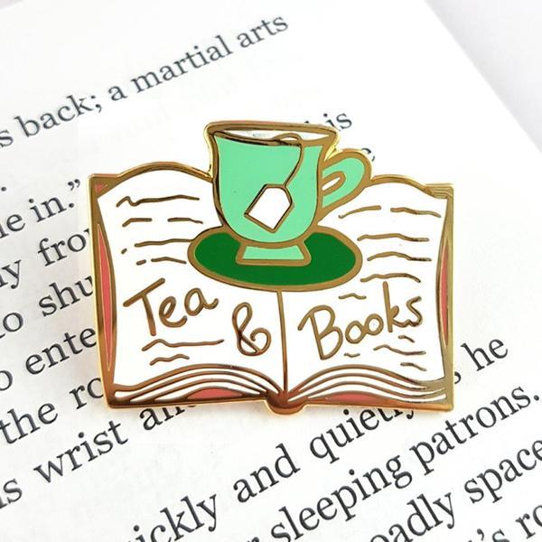 Tea & Books Lapel Pin   Trada Marketplace