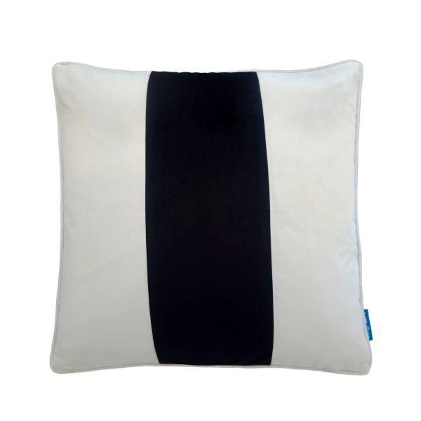 BADEN Black and White Panel Velvet Cushion Cover 50 cm by 50 cm   Trada Marketplace