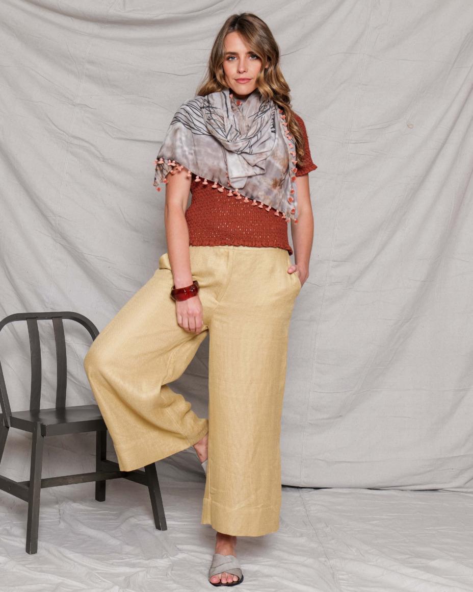 Silk-cotton tassel scarf | NIGHT | Trada Marketplace