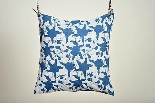 Aasmaan Blue Cushion with Pearl Embroidery | Trada Marketplace