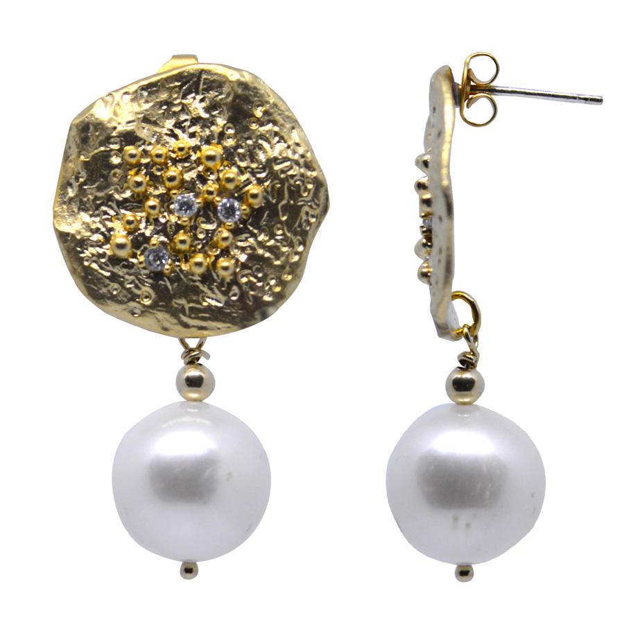 Pearl Gold CZ Stud Earrings | Trada Marketplace