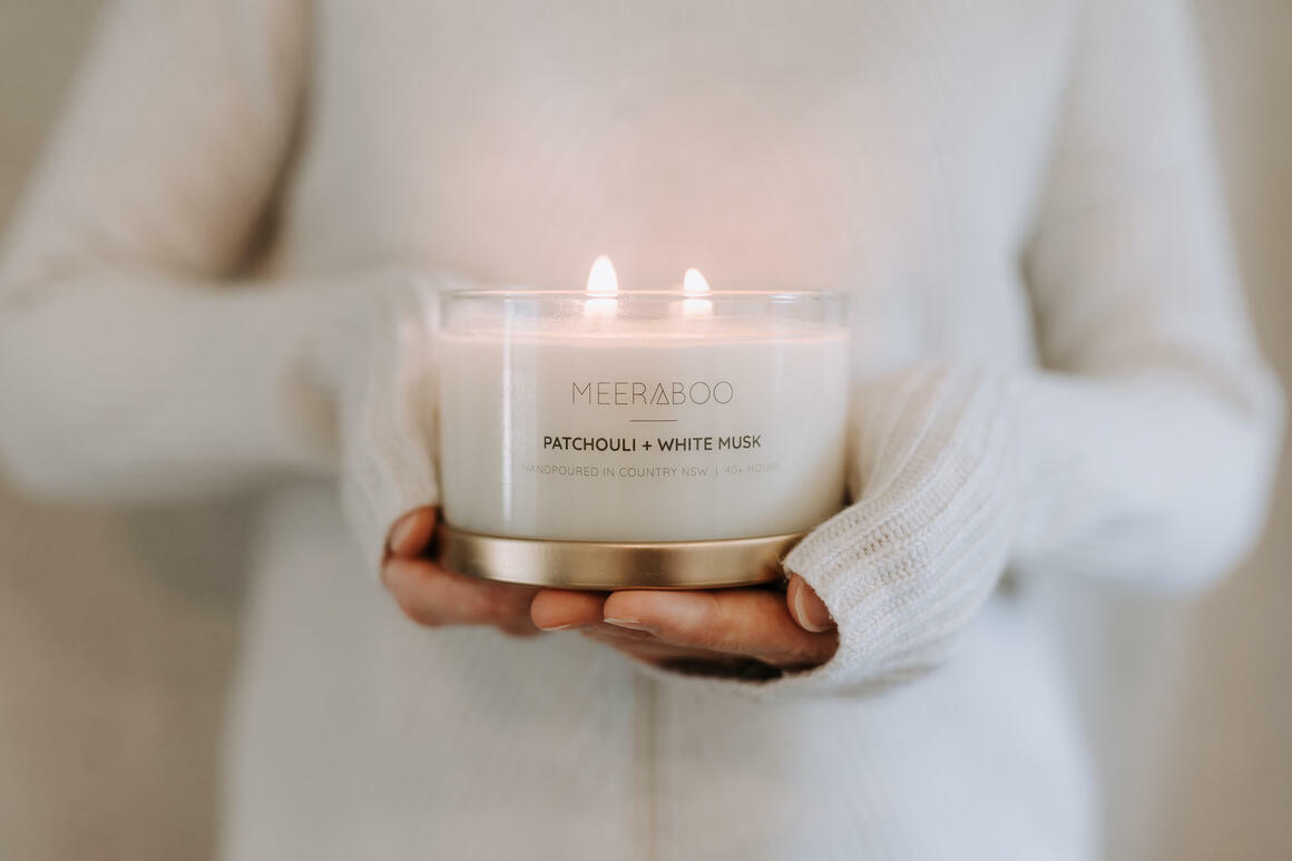 Patchouli + White Musk Gold Lid Soy Candle | Trada Marketplace