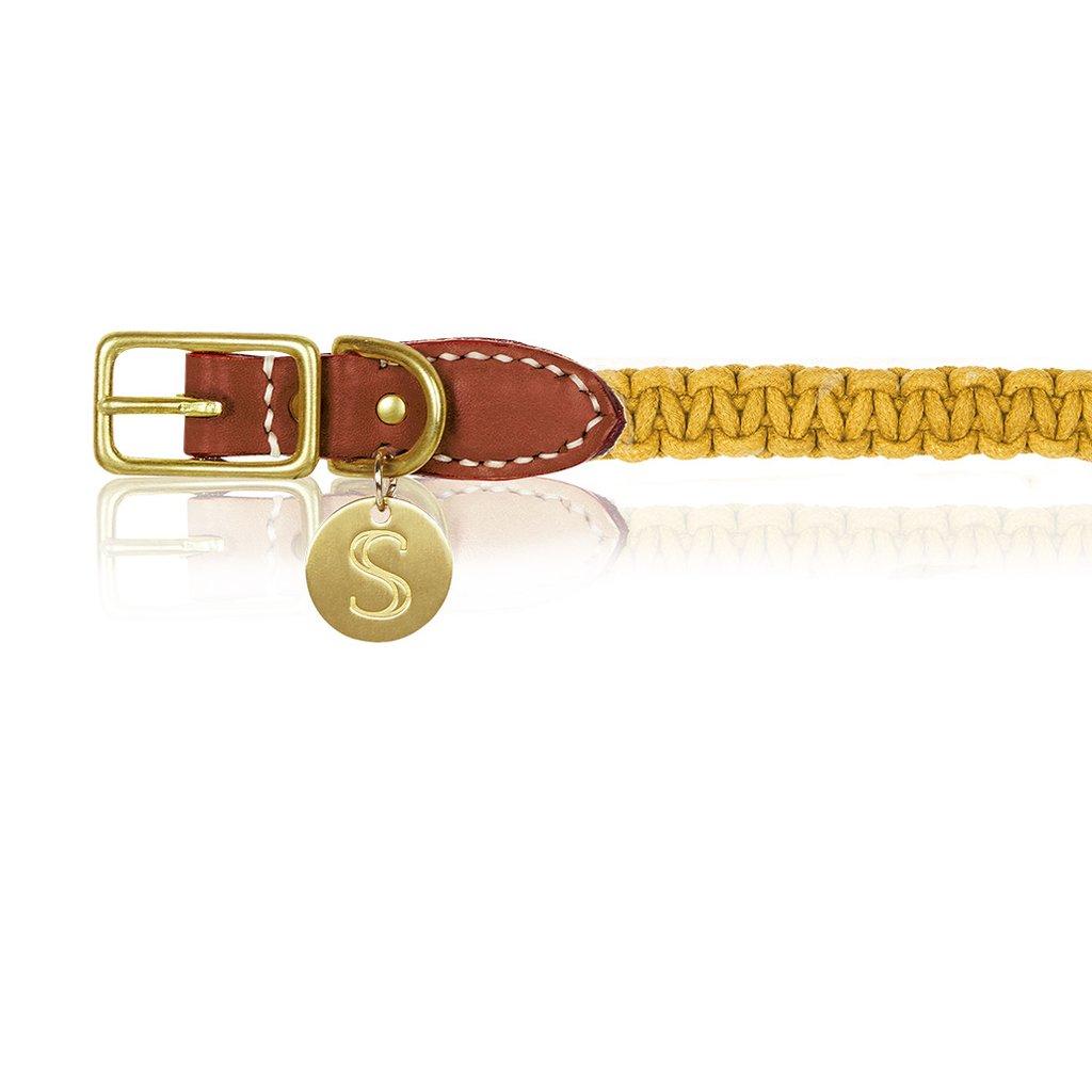 Macramé/Leather Dog Collar - Mustard   Trada Marketplace