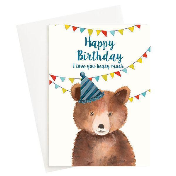 Happy Birthday I love you Beary much Greeting Card Cream   Trada Marketplace