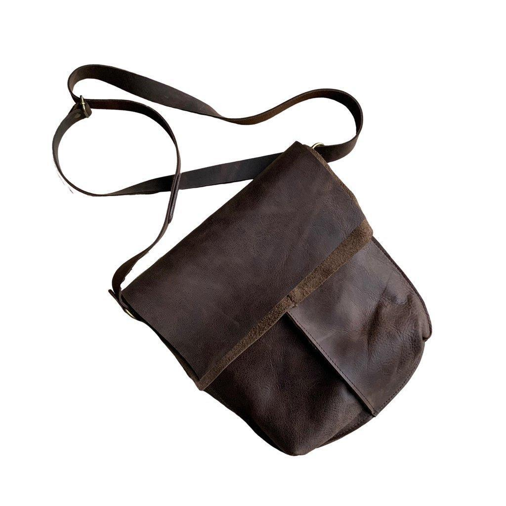 Mocha Cowhide Leather Fold Over Slouch   Trada Marketplace
