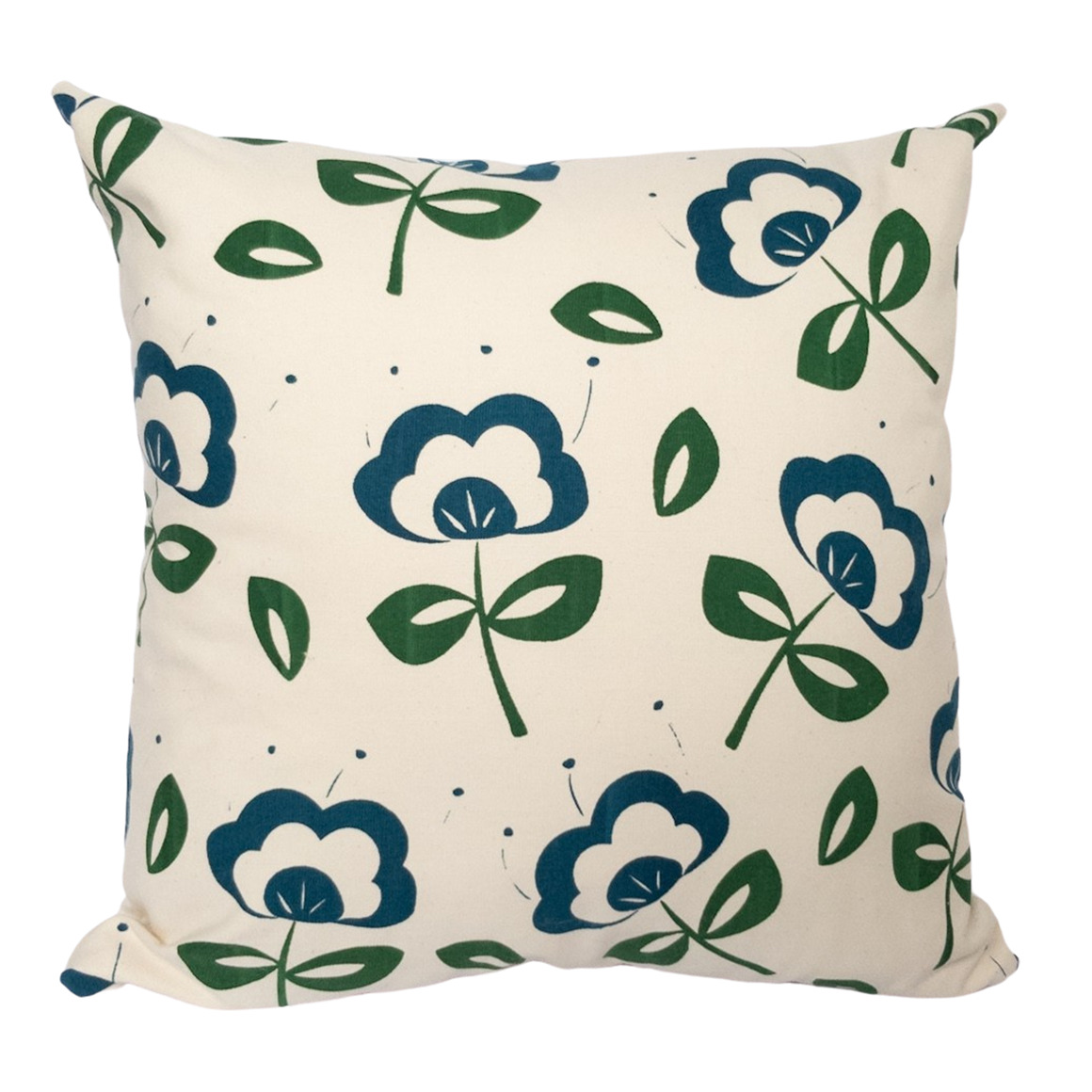 Retro Flower Hand Screen Printed 100% cotton cushion cover-3 Colourways-Cover  Only | Trada Marketplace