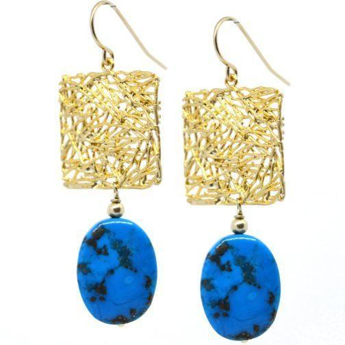 Arizona Turquoise and Gold plate Brass | Trada Marketplace