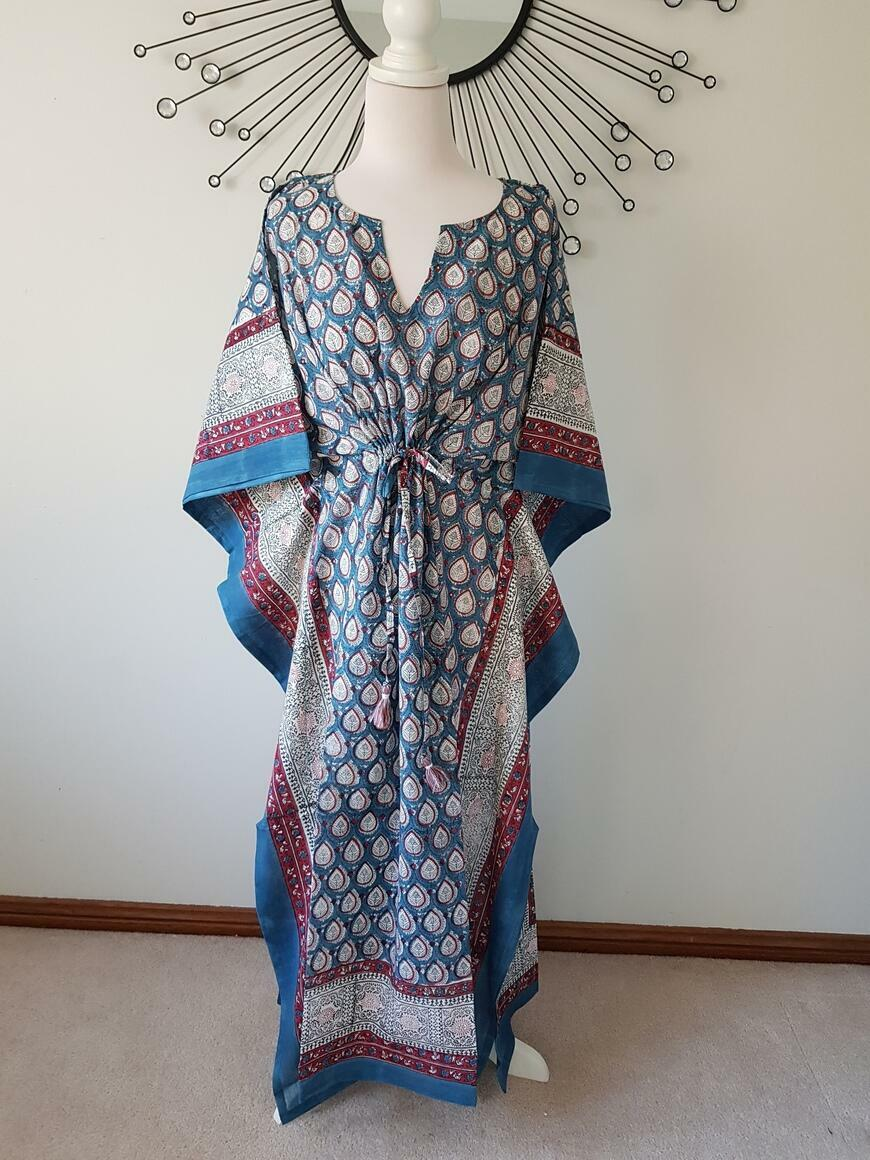 Blue Butti - Hand Block Print Long Kaftan | Trada Marketplace