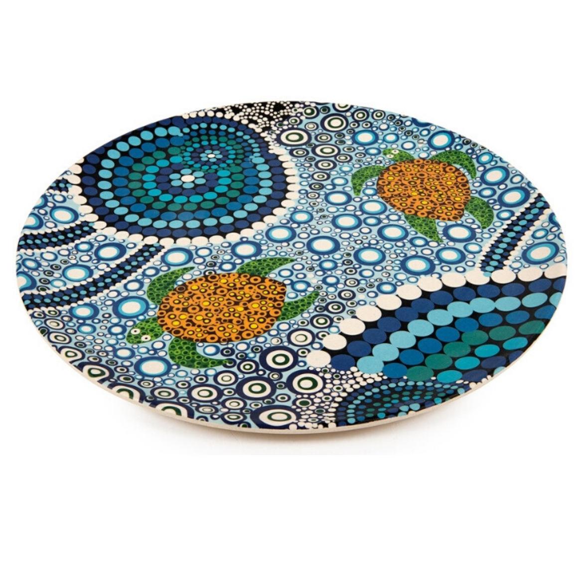 Plate Bamboo Aboriginal Design - Colours of the Reef Design  - Colin Jones Set of 2   Trada Marketplace