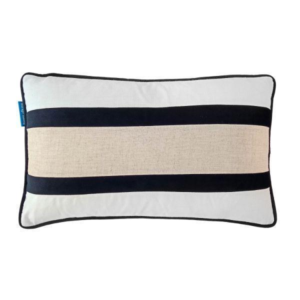 CALDER Black and Jute Double Strip Velvet Cushion Cover 30 cm by 50 cm   Trada Marketplace