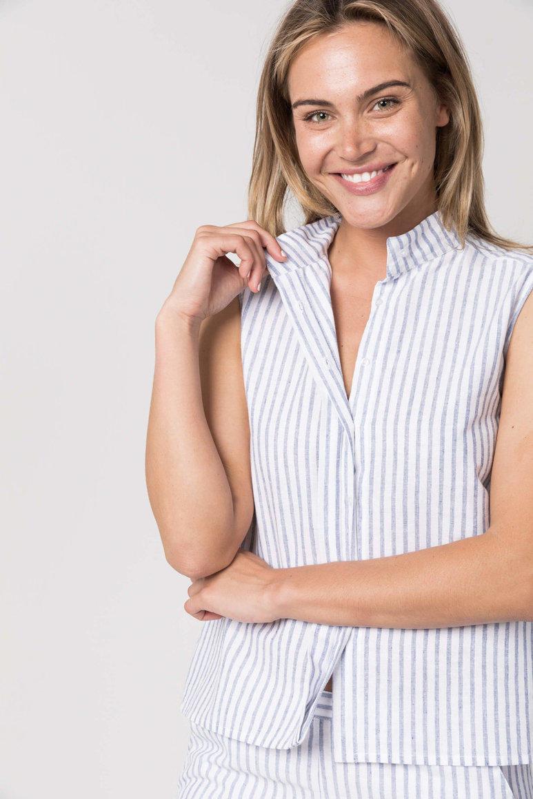 The Wilma Shirt Blue Stripe    Trada Marketplace