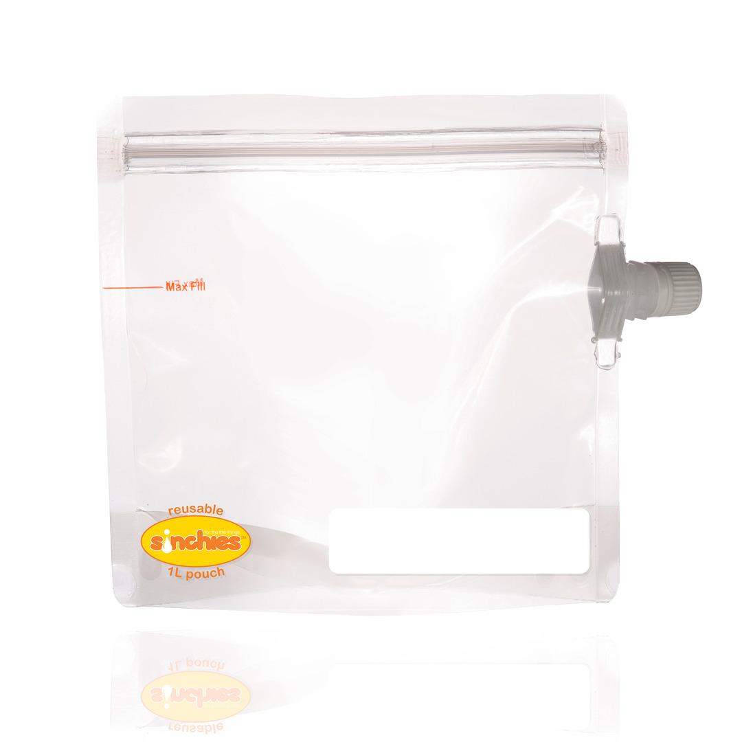 1L Reusable Food Pouch - Side Spout (5 pack) | Trada Marketplace