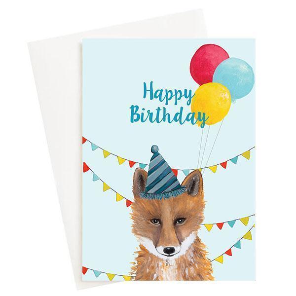 Happy Birthday Fox Greeting Card Blue   Trada Marketplace