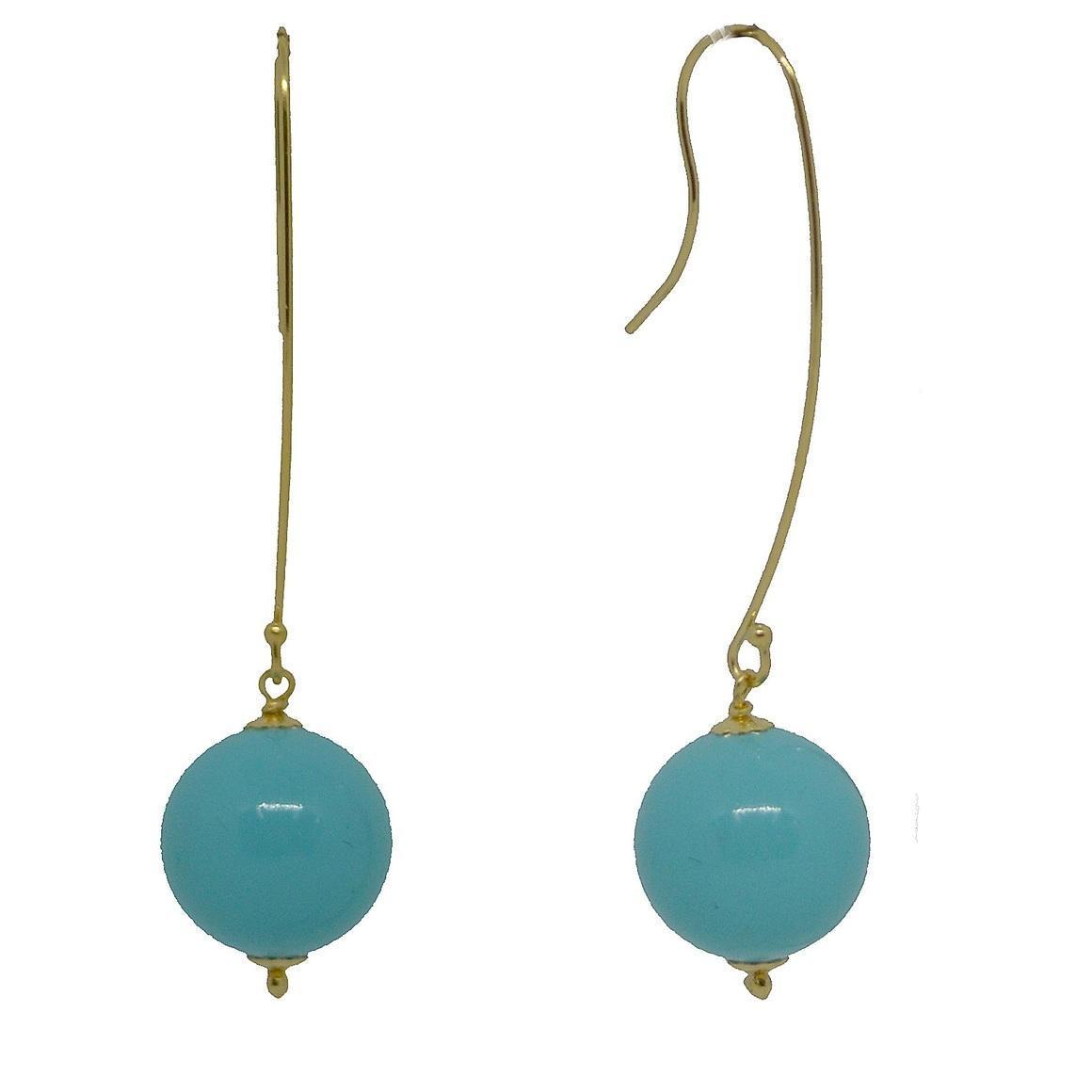 Shell Based Pearl long Gold Earrings | Trada Marketplace