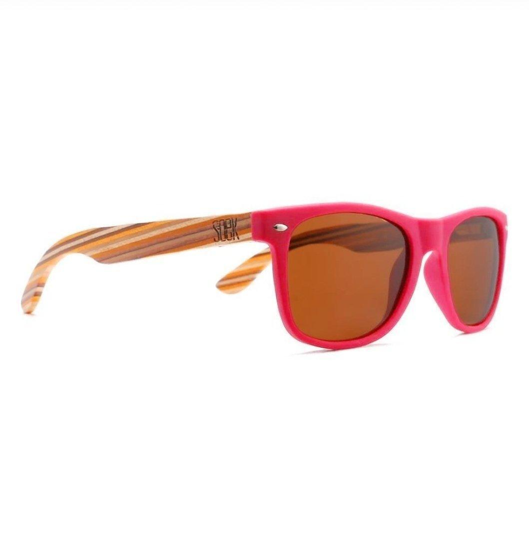 AVALON -  Magenta Sustainable Sunglasses with  Mustard Wooden Striped Arms - Adult | Trada Marketplace