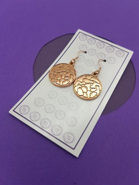 Octo Round Rose Gold Plate Alloy Earrings Stainless Steel Hooks  | Trada Marketplace