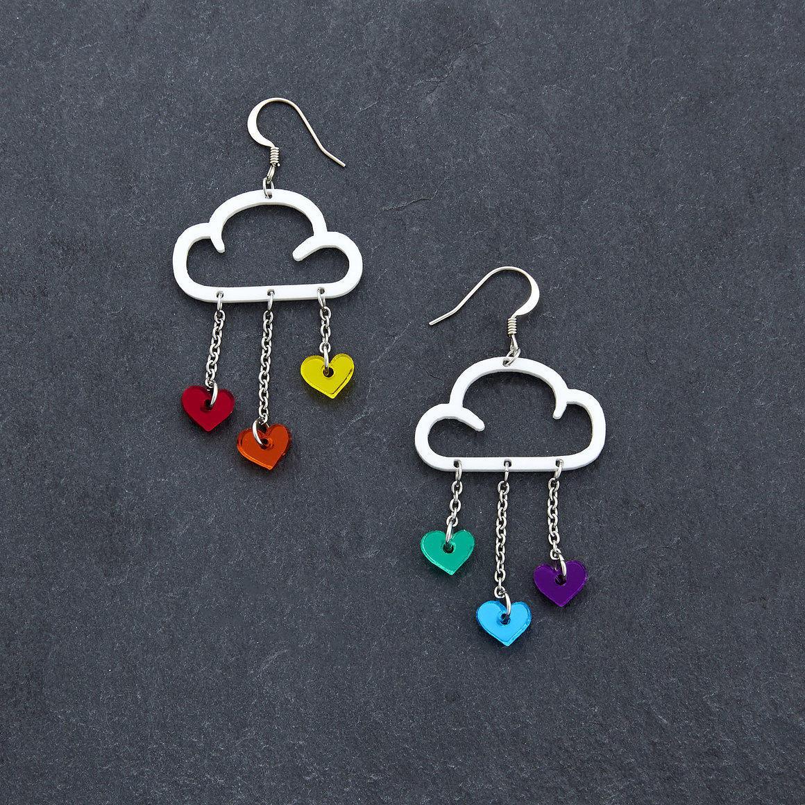 Dangle Earrings - LOVE RAIN - White Rainbow | Trada Marketplace