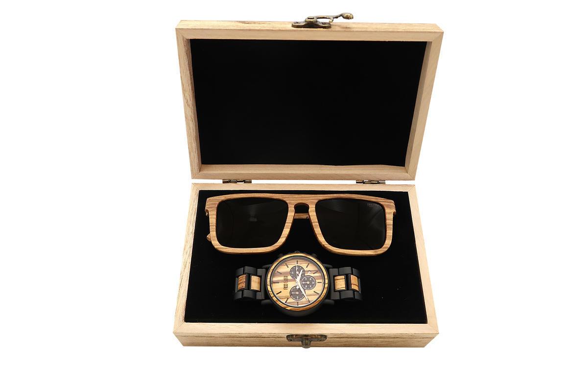 Wood Watch + Wood Sunnies combo 1 ( Yama + Edge) | Trada Marketplace