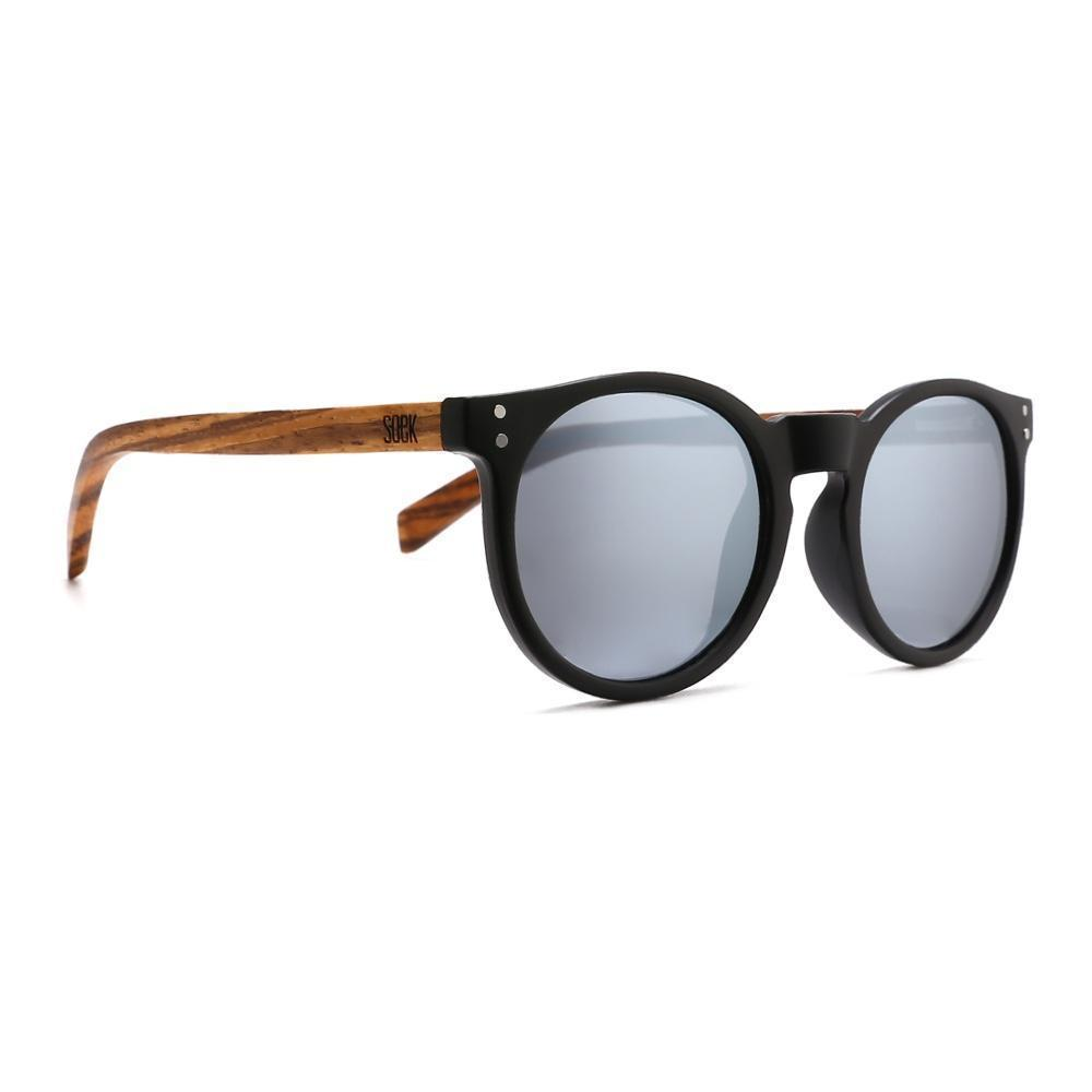 SORRENTO -Black Sustainable Sunglasses with Walnut Wooden Arms and Silver Polarized Lens - Adult | Trada Marketplace