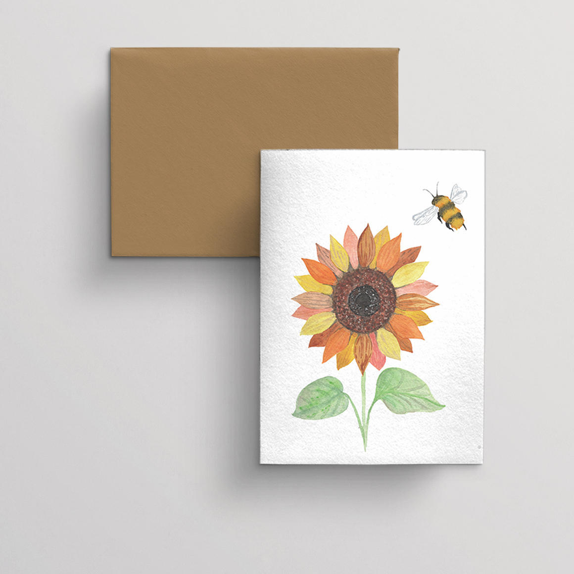 Greeting card single Sunflower and Bee | Trada Marketplace