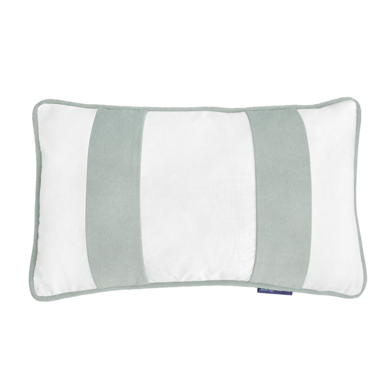 BADEN White and Fog Blue Velvet Twin Strip Cushion Cover 30 cm by 50 cm   Trada Marketplace