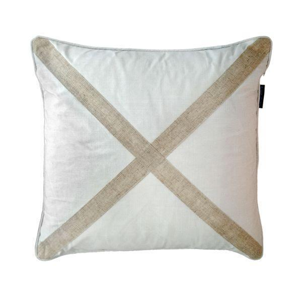 EASTWOOD White and Jute Cross Cushion Cover 50 cm by 50 cm   Trada Marketplace
