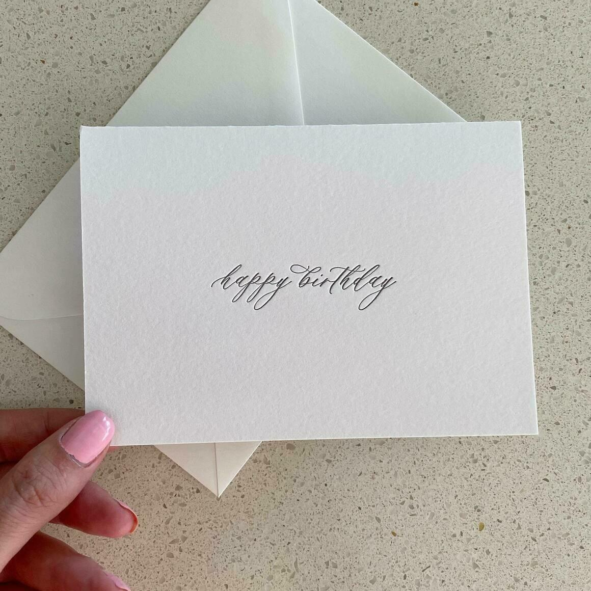 Happy Birthday  Letterpress Greeting Card   Trada Marketplace