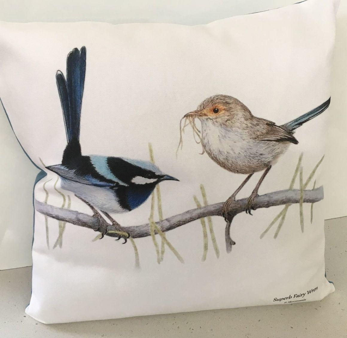 Cushion Covers - Superb Fairy Wren   Trada Marketplace