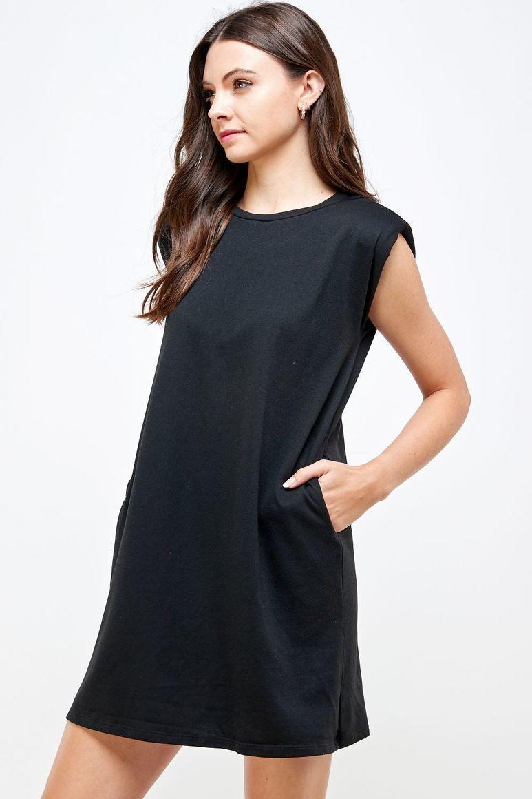 Joyous Shoulder Pad Dress - Black | Trada Marketplace