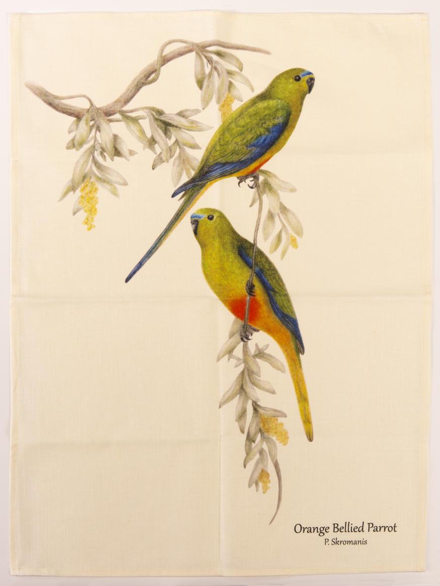 Tea Towel - Orange Bellied Parrot   Trada Marketplace