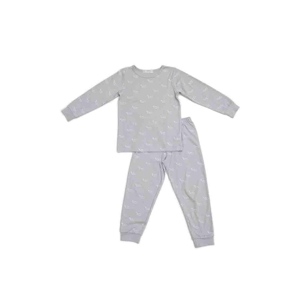 Autumn/Winter Childrens Pyjama Set - Soft Stone Grey in Tiny Whales Print   Trada Marketplace