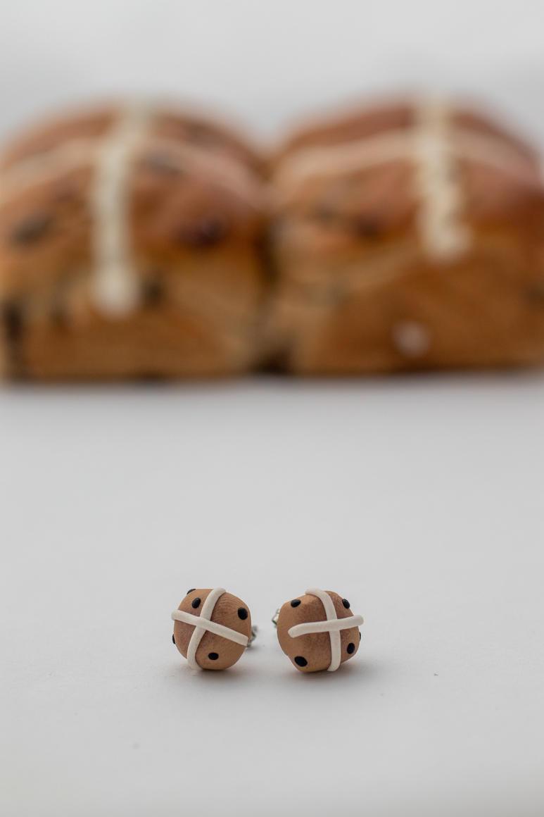 Hot cross bun handmade stud earrings   Trada Marketplace