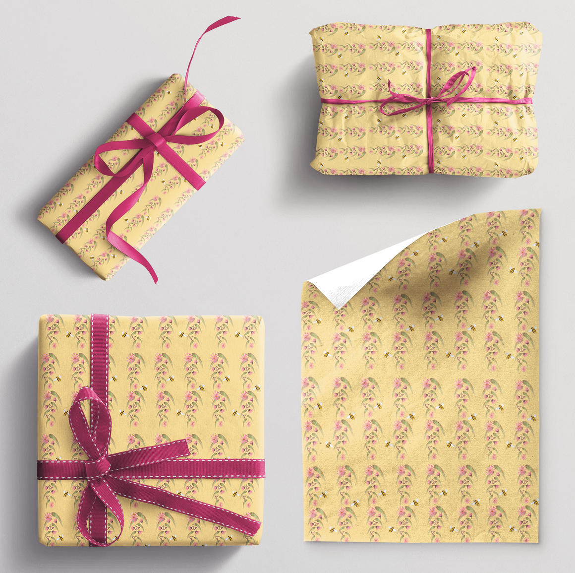Wrapping paper single sheet Bee and Gum leaves | Trada Marketplace