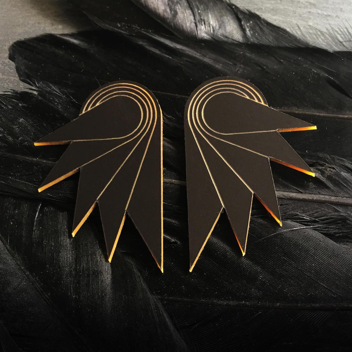 Stud Earrings - GRANDE SPREAD YOUR WINGS - Black | Trada Marketplace
