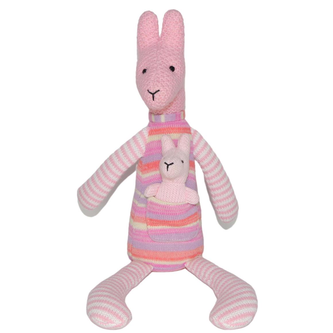 Plush Toy Kangaroo & Baby Joey - Pink/Stripe    Trada Marketplace