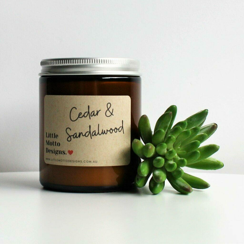 Boxed Amber Candle Jar - Cedar & Sandalwood | Trada Marketplace