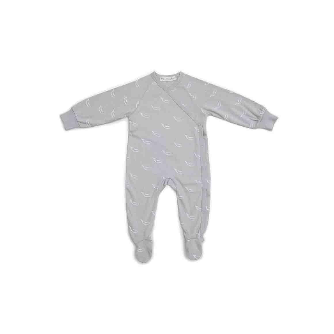 Baby Sleepsuit Kimono With Feet (Soft Stone Grey - Tiny Whales Print)   Trada Marketplace