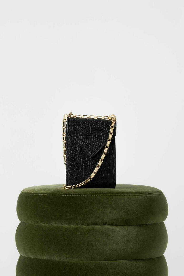 Isabel Phone Pouch in Black Croc   Trada Marketplace