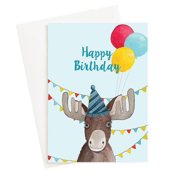 Happy Birthday Moose Greeting Card Blue   Trada Marketplace