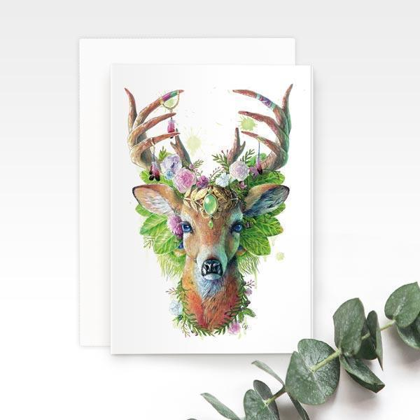 Bohemian Deer Greeting Card | Trada Marketplace