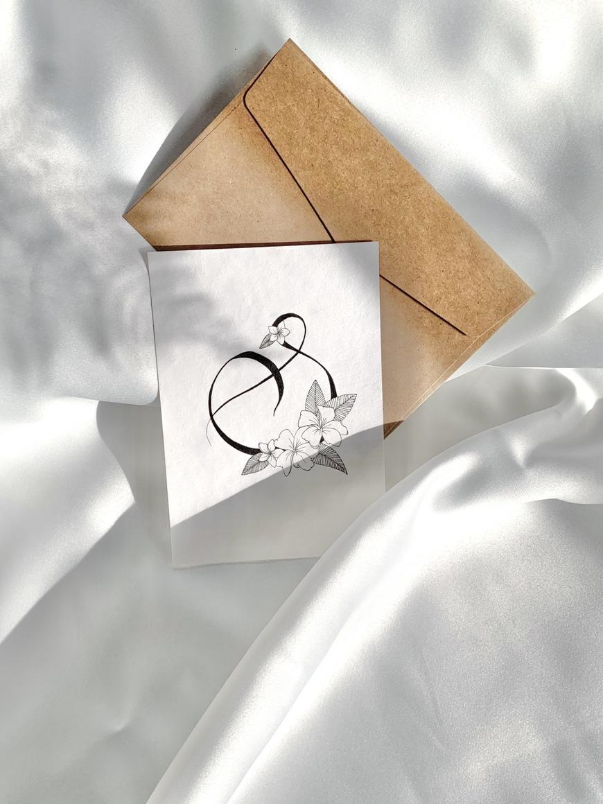 Lettering S Card With Light Plumeria - B & W   Trada Marketplace