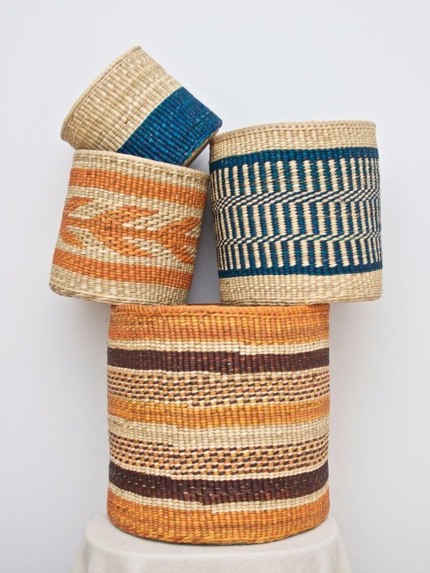 PERUVIAN STRAW ROUND BASKETS (set of 4x or set of 3x) | Trada Marketplace