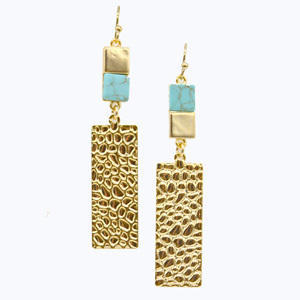 Turquoise Gold rectangle Earrings | Trada Marketplace