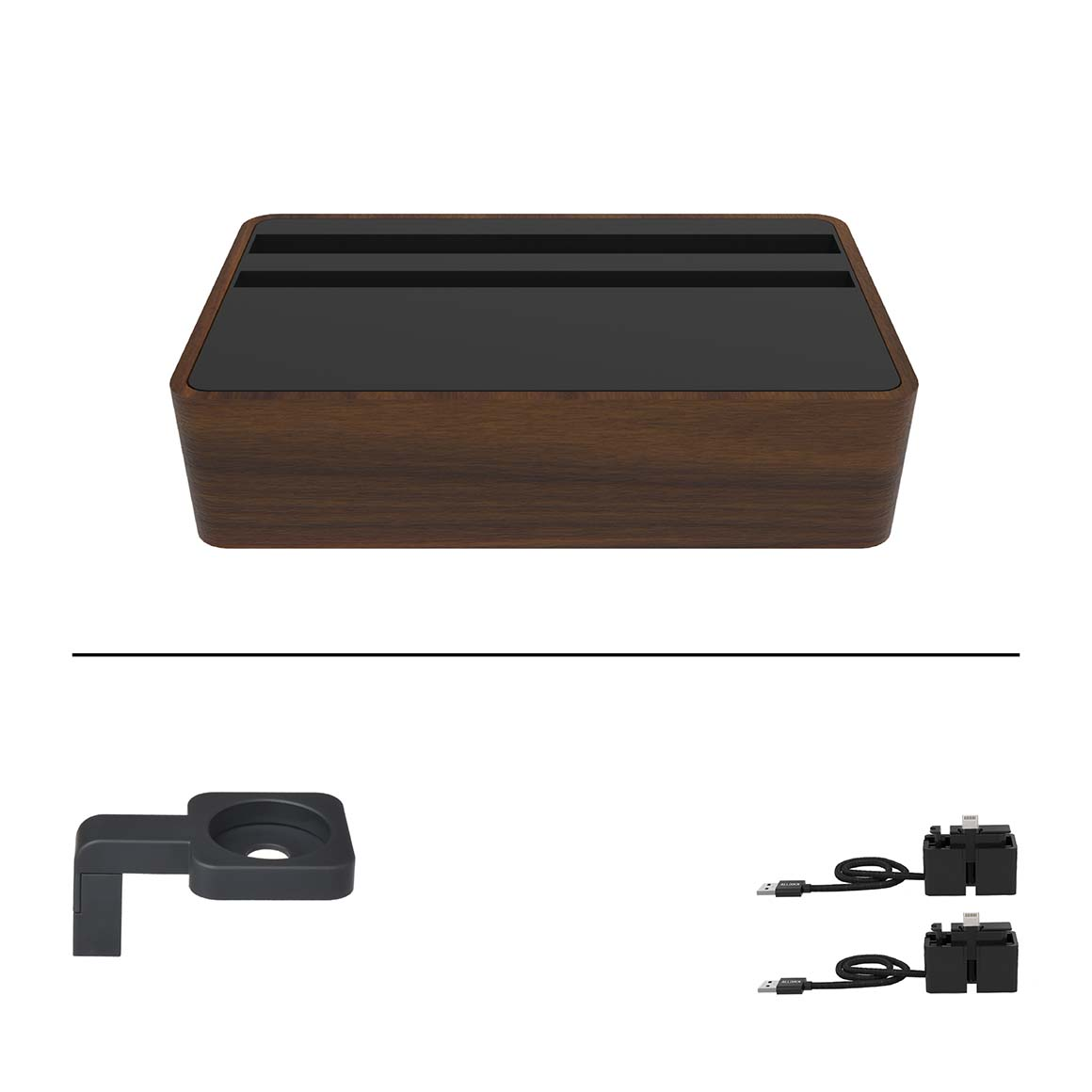 ALLDOCK - Medium Apple Package - HybridX Compact Walnut/Black  + 2x MFi Cable + Black Apple Watch Mount    Trada Marketplace