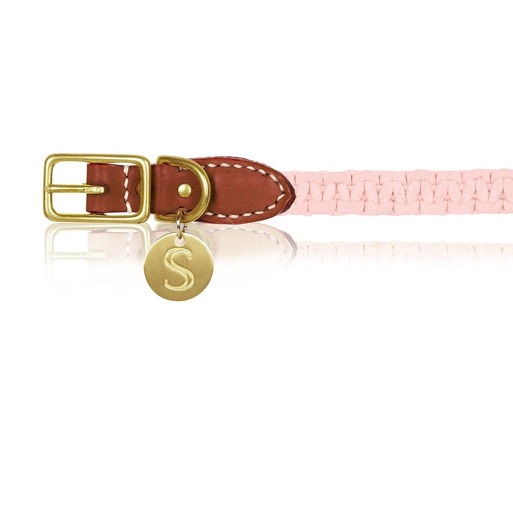 Macramé/Leather Dog Collar - Cognac/Pink   Trada Marketplace