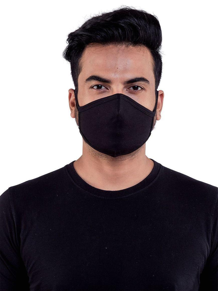 Black-jersey-cotton-ADJUSTABLE-three-layer-mens-mask | Trada Marketplace