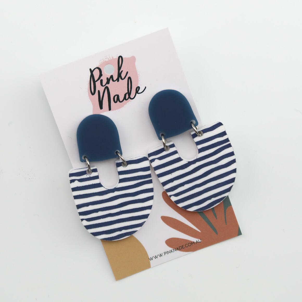 The 'Moops' Blue Stud + Slate Grey Stripe | Trada Marketplace