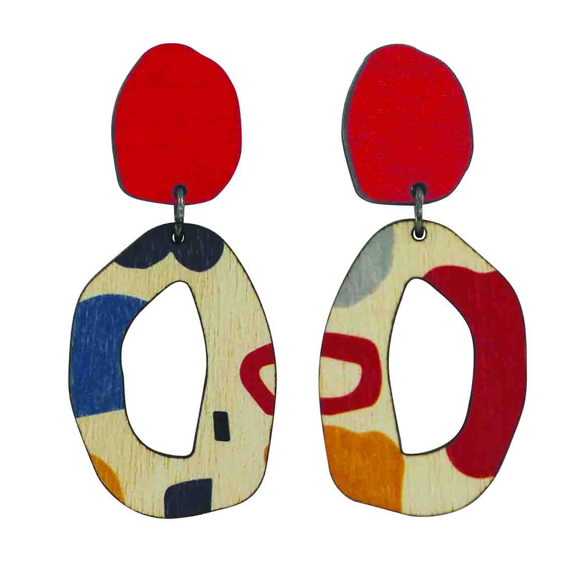 2 tiered red abstract wiggle earrings   Trada Marketplace