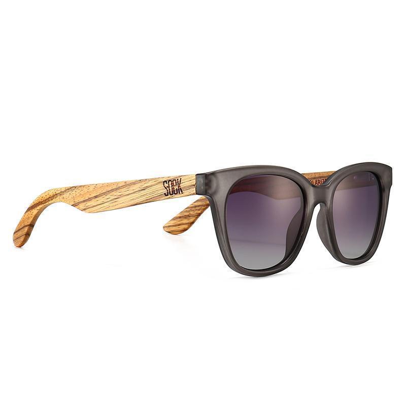 LILA GRACE CHARCOAL GREY - With Black Gradual Polarized Lens and Walnut Arms - Adult | Trada Marketplace